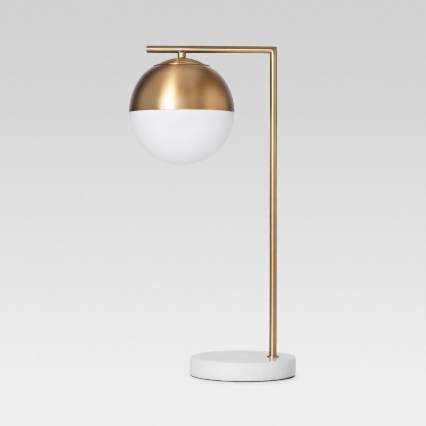 Geneva Glass Globe with Marble Base Task Lamp Brass