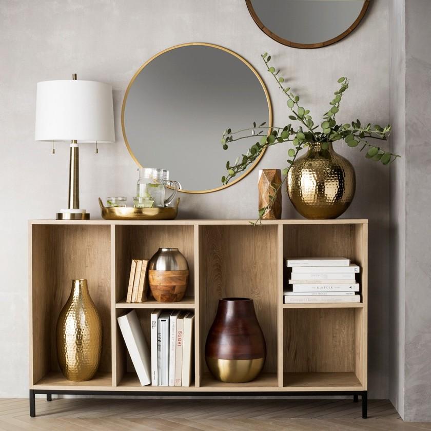 Round Decorative Wall Mirror Brass 2