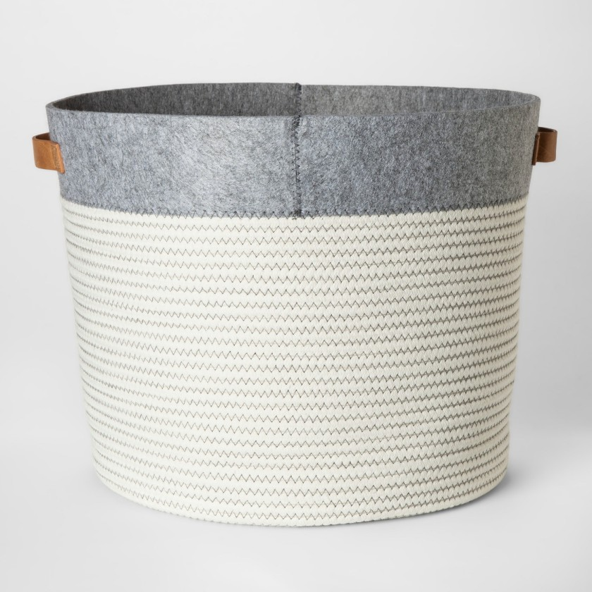 Round Fabric Bin Large Gray & White